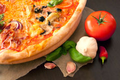 Pizza- food with friends. Inserted into the pizza oven. Margerita, Pizzeria Royalty Free Stock Image