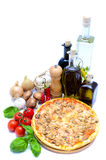 Pizza and food ingredients. Isolated on a white background Stock Photo