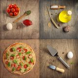 Pizza and food ingredients at wooden table royalty free stock photo