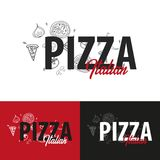 Pizza food logo or emblem for restaurant and cafe. Design with hand-drawn graphic elements in doodle style. Vector Illustration. Pizza food logo or emblem for Royalty Free Stock Photos