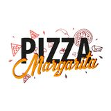 Pizza food logo or emblem for restaurant and cafe. Design with hand-drawn graphic elements in doodle style. Vector Illustration. Pizza food logo or emblem for Stock Photo