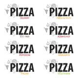 Pizza food logo or emblem for restaurant and cafe. Design with hand-drawn graphic elements in doodle style. Vector Illustration. Pizza food logo or emblem for Royalty Free Stock Photography