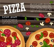 Pizza food menu for restaurant and cafe. royalty free illustration