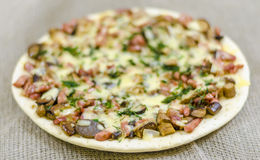 Pizza, food, mushroom, cheese,  snack, gourmet, pastry Royalty Free Stock Photo