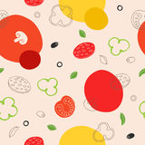 Pizza food seamless pattern graphic art red green yellow illustration. Vector Royalty Free Stock Images