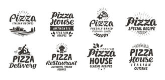 Pizza, food set icons. Collection lettering, labels for menu design restaurant or cafe Royalty Free Stock Image