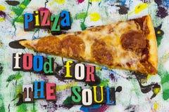 Pizza food for soul letterpress stock photo