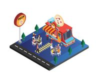 Pizza Food Truck Isometric Artwork of a family enjoying Pizza stock illustration