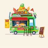 Pizza food truck.  Street food car with chef. character design - Stock Image