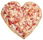 Pizza formar in av hjärta arkivfoto