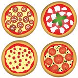 Pizza for four. Illustration of four pizzas isolated on white background with different toppings Stock Image