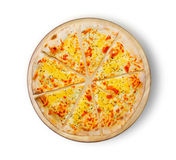 Pizza four cheese. Image of pizza on a wooden board. Stock Photography