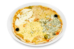 Pizza with four cheeses Stock Images