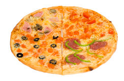Pizza four in one, clipping path Stock Photos