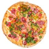 Pizza från överkant Arkivfoto