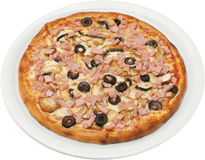 Pizza Franciscana with tomatoes cheese ham and mushrooms Royalty Free Stock Photo