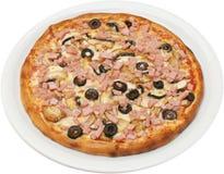 Pizza Franciscana z pomidorami serowy baleron i pieczarki Zdjęcie Royalty Free