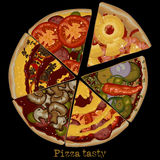 Pizza, freehand drawing Royalty Free Stock Photos