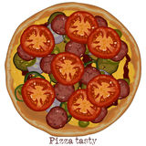 Pizza, freehand drawing Royalty Free Stock Photo