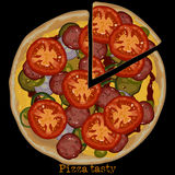 Pizza, freehand drawing Stock Images