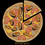Pizza, freehand drawing Stock Image