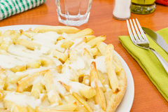 Pizza with french fries Stock Image