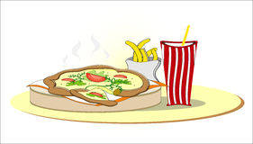 Pizza with french fries and cola. Hot pizza with french fries and cola Royalty Free Stock Photography