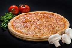 The pizza fresh base on wooden board stock images