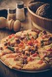 Pizza. Fresh homemade pizza on table stock photos