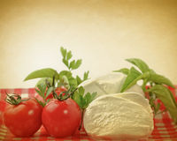 Pizza fresh ingredients on vintage background Royalty Free Stock Images