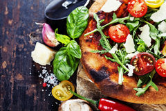 Pizza and fresh italian ingredients Stock Photos