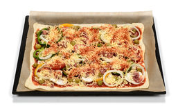 Pizza. Fresh self topped pizza ready for baking Stock Images