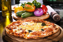 Pizza and fresh vegetables for pizza Stock Images
