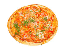 Pizza friável com pimentas Imagem de Stock Royalty Free