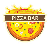 Pizza and fries. icon for pizza bar Royalty Free Stock Photo