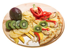Pizza with fruits Stock Image