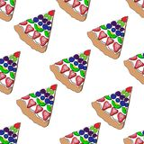 Pizza with fruits and berries vector illustration