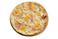 Pizza with fruits and ham Stock Images