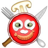 Pizza Fun Party Cartoon. Funny Pizza Cartoon Character, with Olives and Mozzarella as Eyes and nose, a Sausage as big Smile, a slice of Mushroom Champignon de Royalty Free Stock Image