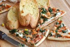 Pizza with garlic bread Stock Photo