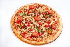 Pizza, generi differenti di pizze al menu del ristorante e pizzeria Fotografia Stock Libera da Diritti