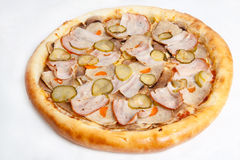 Pizza, generi differenti di pizze al menu del ristorante e pizzeria Fotografia Stock