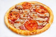 Pizza, generi differenti di pizze al menu del ristorante e pizzeria Fotografie Stock Libere da Diritti