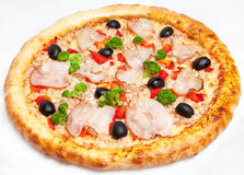 Pizza, generi differenti di pizze al menu del ristorante e pizzeria Immagine Stock Libera da Diritti