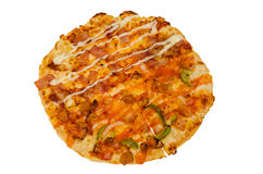 Pizza getrennt auf weißem Hintergrund Lizenzfreies Stockfoto