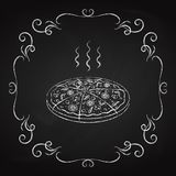 Pizza, getrokken krijt op een bord Royalty-vrije Stock Afbeeldingen