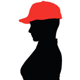 Pizza girl silhouette with a red hat Stock Photography