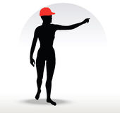 Pizza girl silhouette with a red hat Royalty Free Stock Images