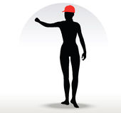 Pizza girl silhouette with a red hat Stock Image