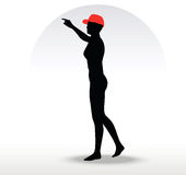 pizza girl silhouette with a red hat Royalty Free Stock Photos
